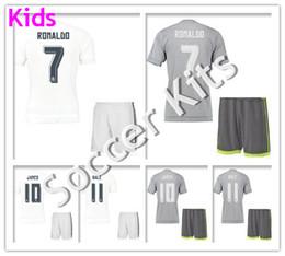 Wholesale Kids soccer jersey survetement football shirt Home White madIrd maillot de foot Cristiano Ronaldo Soccer Kit Uniform