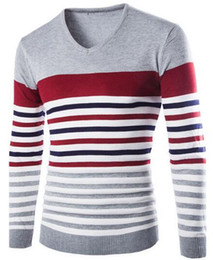 fashion mens knit pullovers Men V-Neck Sweaters new Stripes weave stitching sweaters slim fit free shipping