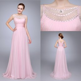 2016 Pink Formal Evening Dresses Illusion Jewel Beading Pleats A Line Chiffon Party Prom Dress Custom made