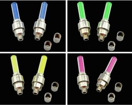 Wholesale New mixed color bicycle bike motorcycle automobile wheel spokes valve cap LED lights flashing neon lights