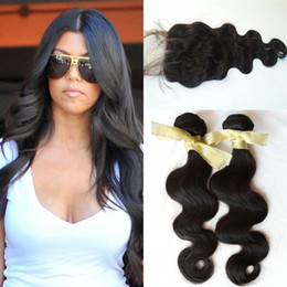 G-EASY hair cheap good human hair 3 bundle deals with closure Russian non process virgin remy hair weave with lace closure