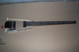 Wholesale Custom New string Crystal body Headless Electric Bass Guitar EMG pickups Crystal glass Electric bass
