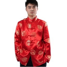 Wholesale Chinese Silk Satin Jackets - 2015 new Red Color chinese traditional wedding jacket clothing for men festival clothes wear tang suit Men's Silk Satin winter jackets