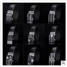 Wholesale 55 designs mix design HOT Fashion belt MEN S Genuine Leather Waist Strap Belts Automatic Buckle Black C1389