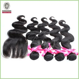 Wholesale Hair Talk Extensions human Hair Brazilian Inch Lace Closure Three Part Straight Lace Frontal with Bundles Fish Line Hair Extensions
