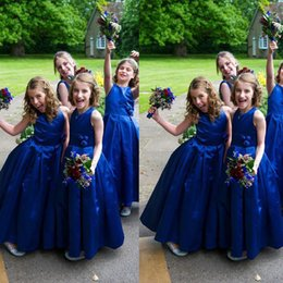 Royal Blue Flower Girl Dresses 2016 A-Line Ankle Length Jewel Sleeveless Gowns For Girls Hand Made Flower Sash Sleeveless Girl Party Dress