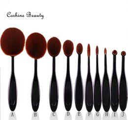 10sets lot New Arriveral 10pcs set Tooth Brush Shape Oval Makeup Brush Set Professional Foundation Powder Brush Kits