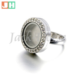 New arrival stainless steel locket rings fashion design waterproof rubber ring with crystal women free shipping