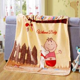 Wholesale Brand New Baby Boys Girls Double Layer Plush Velvet Blanket Light Yellow Sherpa Blanket Swaddling Cuddling Stroller Cover for Children