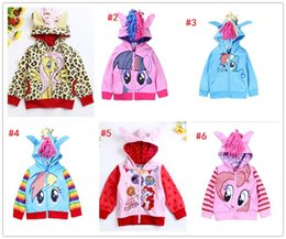 Wholesale NEW My little pony girl hoodies with wings back fashion Cartoon jacket sweatshirt for baby girls Spring coat with hat children clothing