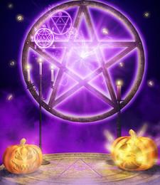 Wholesale 150x220cm x7ft backdrop halloween Dark magic pumpkins Bible fotografie achtergronden ZJ