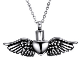 Lily Memorial jewelry Pendant Love Angel Wings Urn Pendant Ashes Necklace Keepsake with Chain Necklace with a Gift Bag