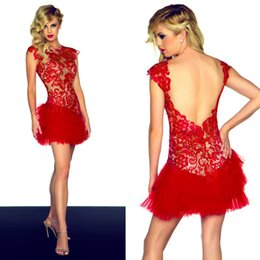 Wholesale Fancy Asian Red Lace Cocktail Party Dresses Cap Sleeve Backless Tulle Night Club Mini Sexy Homecoming Dress for Dances E2556