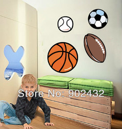 Wholesale-Football Basketball Soccer Removable Wall Decals Stickers Furniture Kids Room Decor Art Sticker - JiaMing Home Decoration