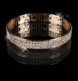 Wholesale Gold Arabic Style Cheap In Stock Rhinestone Row Bangle Kids Prom Women Evening Wedding Party Jewelry Bracelet Bridal Accessories