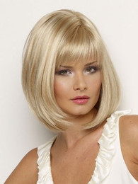 Free Shipping Cheap Blonde Short Straight Wigs Glamorous Cosplay Bangs Wigs Stylish lady Blonde synthetic wigs