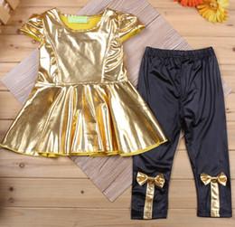 Golden Girls Clothes Sets Dress Pants Suit Girl's Tops Trousers Suit Hot Sale