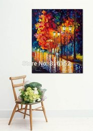 Palette Knife Painting Romantic Dating at Night Park Landscape Picture Printed on Canvas for Home Office Hotel Wall Art Decor