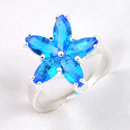 Wholesale 10pcs Cheap Blue Topaz Gemstone Sterling Silver Flower Shaped Ring Russia American Australia Weddings Ring Jewelry Gift