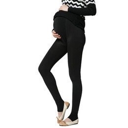 Wholesale Suspenders Pregnant - Plus Velvet Thickening Winter Maternity Leggings Pants Clothes For Pregnant Women Warm High Waist Suspender Pregnancy Trousers free shipping