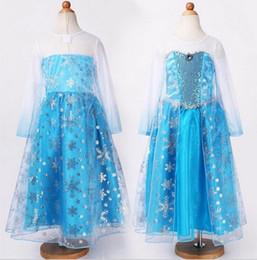 Nouvelles robes de filles de noël en Ligne-Pas cher robe d'été 2 014 fille robe de soirée anna costume de princesse bébé filles robe tutu elsa nouvelle robe rose de Noël congelé
