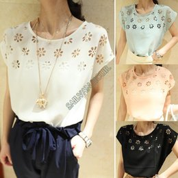 High Quality ! Fashion 2014 New Women Summer Sexy Shirt Flowers Hollow Loose Batwing Sleeve Crew Neck Chiffon T-Shirt b7 20210