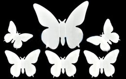 Hot 50Pcs Lot DIY 3D Wall Stickers Butterfly Home Decor Room Decorations Sticker White Size 5.5x5.5cm Free Shipping 4699
