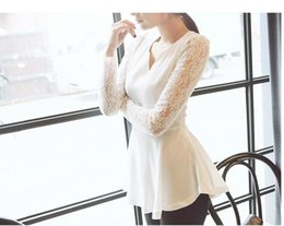 S Women'S Flared Peplum Sexy tops HOT Style Lace Sleeve Blouse Size S M L XL 2XL