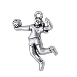 Wholesale New Fashion Easy to diy volleyball player sports jewelry charms single side antique silver toned jewelry making fit for nec