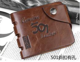 Wholesale Top Quality bourse d hommes de cuir Leather Wallet Pocket Bouton Vintage Wallet court preuve de l eau anti rayures bourse de cuir LJJE413