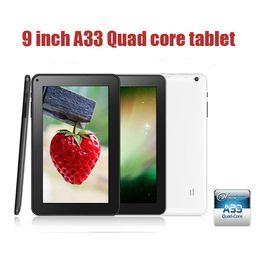 Couleur dual quad en Ligne-Haute qualité 9inch noyau A33 Quad Android 4.4 Tablet PC Kitkat Multi Color DDR3 de 8 Go 512M WIFI double caméra OTG G-SENSOR Bluetooth 002591