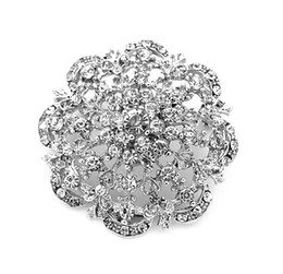 Fashion 2 Inch Rhodium Silver Plated Round Flower Bouquet Brooches Pins With CZ Clear Crystal Rhinestone
