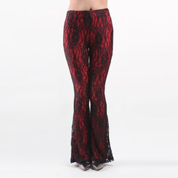 Wholesale 2016 New Summer European And Americas Fashion Lace Embroidery Casual Trousers Bell Bottom Trousers Mid Waist Flare Pants Pencil Pants
