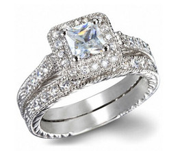 White Gold Plated Top Quality Swiss Cubic Zirconia Diamond Two Band Wedding Ring For Women and Men