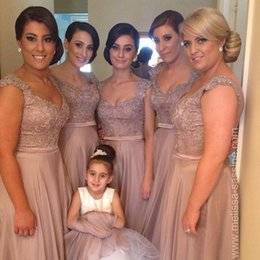 Wholesale Shiny Elegant Dress - 2016 Elegant A Line Chiffon Long Cheap Bridesmaid Dresses Shiny Sequins Beaded Lace Applique Top Cap Sleeves Prom Gowns Custom Made