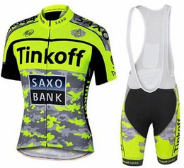 Tinkoff Saxo 2015 New Arrival Cycling Jersey Set Fluo Green Color Short Sleeve With Padded Bib Trousers Breathable clothes free shipping