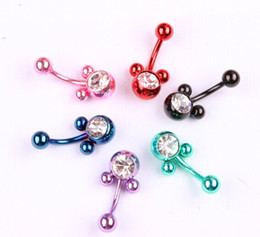 New Fashion Navel Ring Surgical Stainless Steel Dangle Delicate Rhinestone Mickey Belly Button Rings