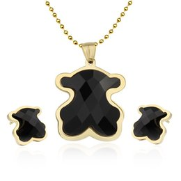 Wholesale fashion Tou bear jewelry sets stainless steel for women black crystal stone necklace earrings wedding african accessories african jewelry