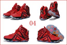 Wholesale 4 Colours With Box New Lebron XII Elite Team University Red Bright Crimson Men Basketball Sport Sneakers Trainers Shoes