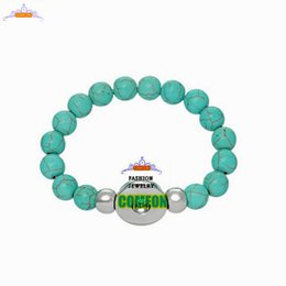 Wholesale Natural stone bracelet Charm Artificial Turquoise Bead Snap Bracelet Elastic Wristband Punk Rock Bangle bracelets for women