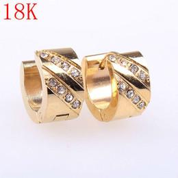 18K 2015 new fashion earrings Stainless Steel earring for women Earring For Adorable gold earrings hoop Wholesale JH-0179