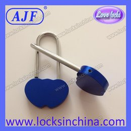 Wholesale Valentine s Day gift AJF Double Heart Love Padlock The Russian girl love lock Little blue lover lock