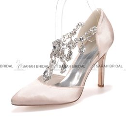 Crystal Satin White Pink Blue Ivory Purple Champagne Wedding Dress Shoes 10 CM Pointed Toe Women Evening Prom Bridal Accessories 2015 Cheap