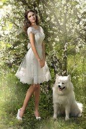 Wholesale Cap Sleeve V-neck Short Wedding Dresses With bow Romantic Knee Length Lace Wedding dresses 2016
