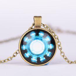Wholesale Iron Man Arc Reactor Pendant glass Necklace Art picture Gothic glass cabochon silver choker Necklace for women men Jewelry L248