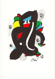 Wholesale Mordern fashion oil painting bar and pub Joan Miro reproduction hand painted LA MELODIE ACIDE II