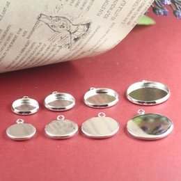 Wholesale 10mm Silver plated pendant setting cabochon base tray bezel blank charm pendant diy jewelry making findings cy003