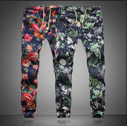 Wholesale 2016 Spring New Men s Pants Casual Floral Print Pants AFM002 Men s Capris Men Elastic Waist Longs Mens Plus Size M XL Linen Trousers
