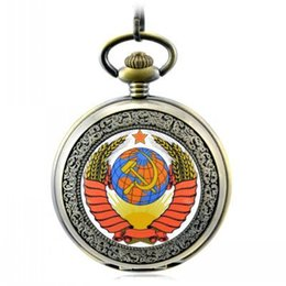 Wholesale New Best FullmetalSoviet Communist Party Emblem pocket watch Stone Pocket Watch best Gift Christmas