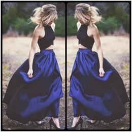 2018 Sharp Blue Colour Long Skirt and Black Blouse Two Pieces Prom Dresses Elegant Evening Dresses Wear